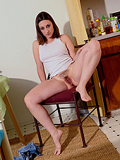 Hairy Amateur Shows Off Her Body On The Chair