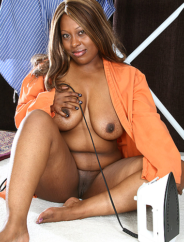Ebony bbw shows off her black pussy while doing her chores