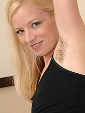 Hairy Blonde Beauty Shows Her Furry Armpits And Pussy