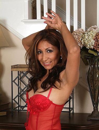 Yummy Latina Milf Teasing Us In Her Red Lace Lingerie