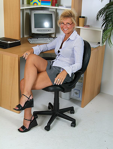 Yummy Milf Gets Bored And Strips In The Office