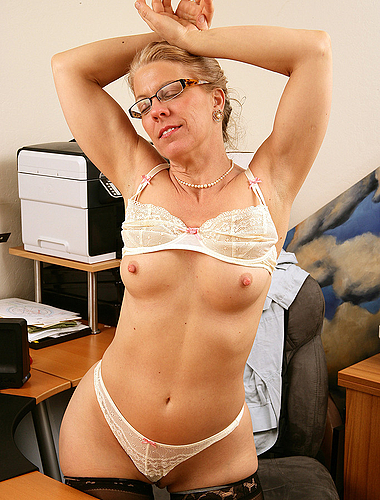 Horny mature office chick can't wait to show you what's in her panties