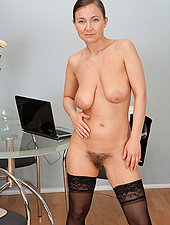 Sexy Sveta's bush is dripping wet and waiting to be entered. She cant wait any longer, so she pulls on her hairy pussy lips and spreads them wide.