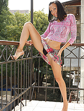 Annie takes her executive pussy onto the balcony and spreads her hairy lips. The fresh breeze tickles her moist little clitoris...