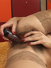 Sexy Velvet fills her hairy pussy