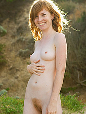 Hairy Redheaded Babe Loves To Get Naked Down On The Beach