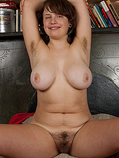 Celia fingers her hairy bush