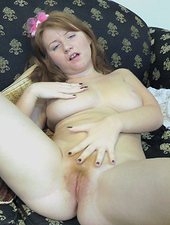 Teen Scarlett plays with her tight hairy pussy