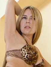 Chloe B staircase strip tease