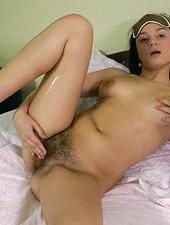 Hairy girl Dana does her nightly routine