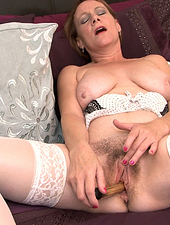 Tiffany T. loves sex toys in her hairy bush