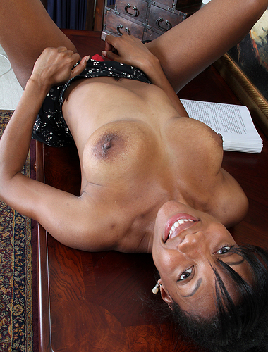 Hot ebony Jayden from AllOver30 spreads her pink slit on her desk
