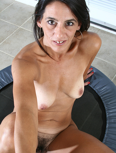 43 year old Stacey from AllOver30 exercising naked on a trampoline