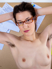 Tiffanny is a bad girl in the office. She is going to take off her uniform and play with her hairy pussy. Tiffanny is even going to stick a pen in her hairy pussy. Tiffanny is a naughty babe.