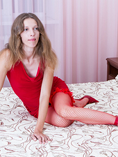 Aivha is dreaming of a man to fuck her well when suddenly she finds one hiding in her closet. He gets straight to work sliding his hand under her red dress to pull her pussy hairs poking out below.