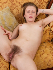 When hairy girl Fani comes home from her day of shopping, she enjoys the feelings she has. She is horny and begins to strip her jumper off slowly and masturbate her hot hairy pussy.