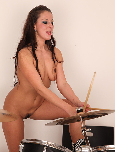 Rocking out with drums Valentina Ross gets naked for your camera