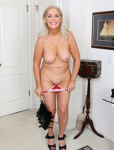 58 year old Judy Mayflower from AllOver30 playing French maid here