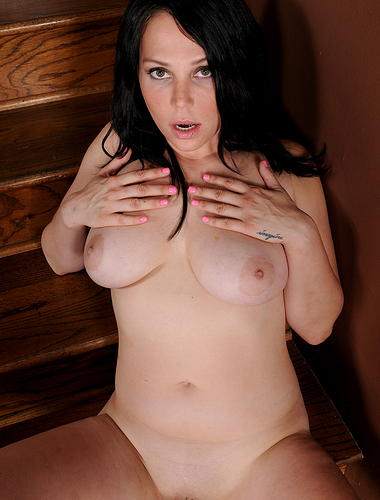 Busty Summer Avery naked on the stairs