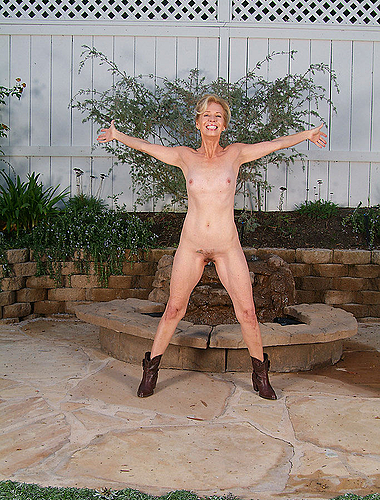 55 Year Old Sexy Grandma Spreads Wide On A Park Bench